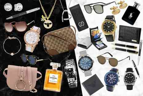 Brand Arena - Luxury mystery gift Tru Virtu metal wallets, Gucci bag, Chanel perfume, Mont Blanc sunglasses, an Armani watch, a Hot Diamond necklace and more - Save 0%