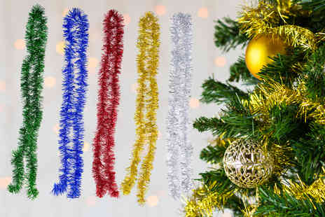 Absolute Deal - Set of five Christmas tinsel decorations - Save 0%