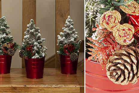 Blooming Direct - 3 Pack of Miniature Decorated Christmas Trees - Save 50%