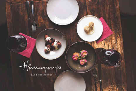 Hemingways - Sharing flatbread, four small plates and a bottle of wine for two people - Save 65%