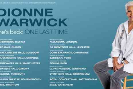 Dionne Warwick - One Last Time Tour from 22nd September To 12th October 2020 - Save 13%