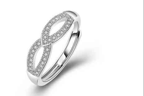 GENOVA INTERNATIONAL - 925 sterling silver love infinity ring adjustable - Save 80%