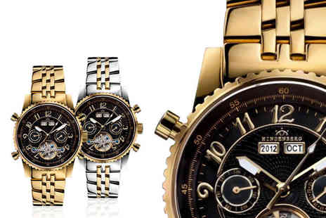 Rotatio - Gold edition Hindenburg luxury mens watch choose from four designs - Save 84%