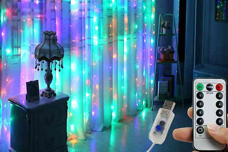 WhoGotThePlan - Remote Control Led Curtain Lights choose from 3 Colours - Save 77%