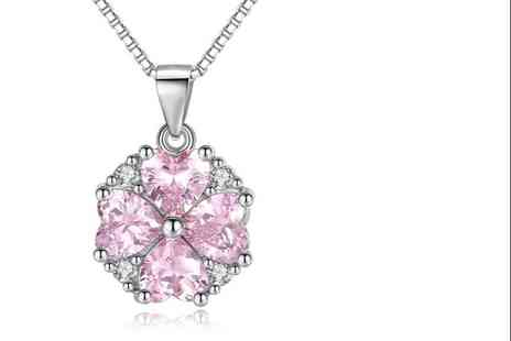 GENOVA INTERNATIONAL - Cubic Zirconia Pink Heart Necklace - Save 86%