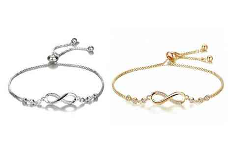GENOVA INTERNATIONAL - Crystal infinity bracelet choose from two colours - Save 86%