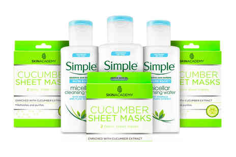 Avant Garde - Bundle of Simple micellar water and Skin Academy cucumber sheet masks - Save 46%
