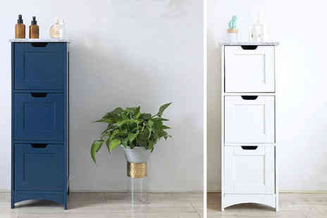 Energile - Marble effect top three drawer bathroom cabinet - Save 55%