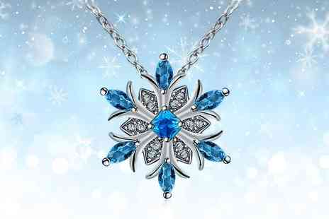 Your Ideal Gift - Blue crystal snowflake necklace made with crystals from Swarovski - Save 0%