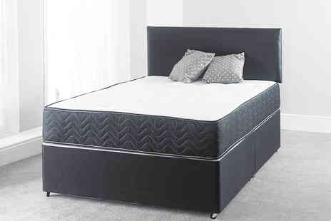 Dining Tables - Black border divan bed with a mattress and optional drawers Choose from six sizes - Save 83%