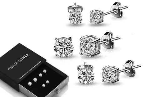 Philip Jones - Three pack of crystal earrings Choose from three colours - Save 64%