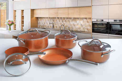 Groundlevel - Nine piece ceramic copper effect pan set - Save 59%