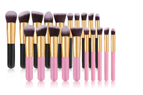 Spezzee - 10 pack makeup brush set with colour options - Save 65%
