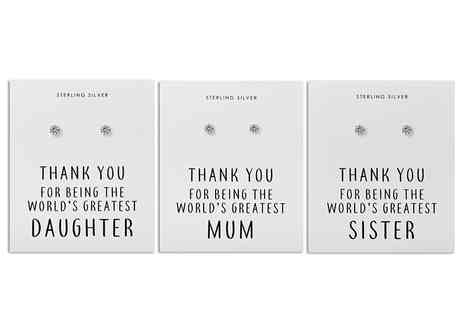 Philip Jones - Pair of silver sterling Thank you earrings Choose between six designs - Save 69%