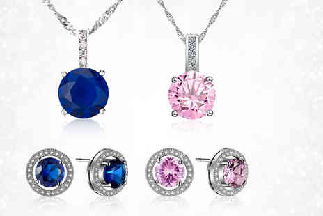 Your Ideal Gift - Brilliant cut lab created Sapphire and Rhodium plated pendant and earrings set Choose from pink or blue - Save 88%
