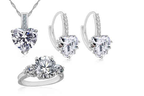 Your Ideal Gift - 7.33 carat clear lab-created sapphire rhodium plated tri-set - Save 87%