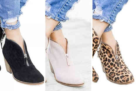 Blu Fish - Pair of zip front ankle boots choose from three colours - Save 70%