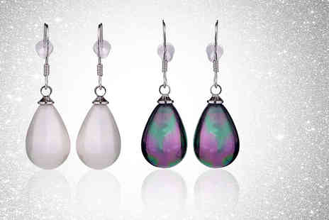 Gemnations - Pair of pearl drop earrings Choose between two colours - Save 88%