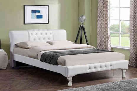 Envisage Home - Snowdon button upholstery white bed Choose between two sizes - Save 77%