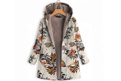 Secret Plums - Floral Hooded Coat Choose from 3 Colours and 5 Sizes - Save 60%