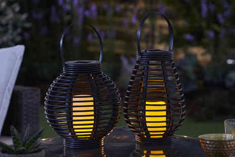 CJ Offers - Rattan effect solar candle lantern - Save 33%
