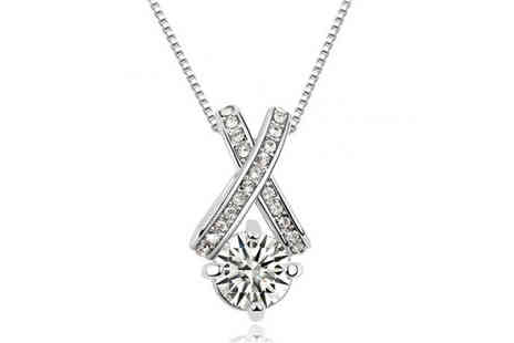 Your Ideal Gift - Rhodium plated solitaire cross pendant made with Czech crystals - Save 88%