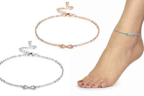 Groupon Goods Global GmbH - One or Two Philip Jones Infinity Anklets with Crystal from Swarovski - Save 75%