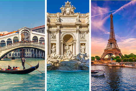 Weekender Breaks - Six nights Venice, Rome and Paris holiday with internal transfers and return flights - Save 42%