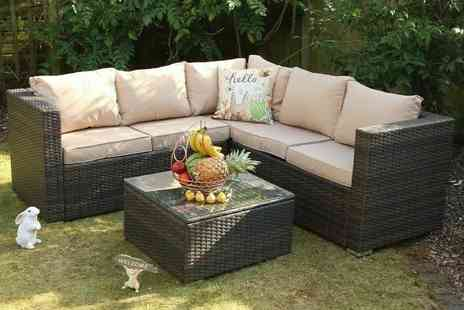 Dreams Outdoors - Five seater Yakoe Monaco modular durable polyrattan corner sofa set - Save 69%
