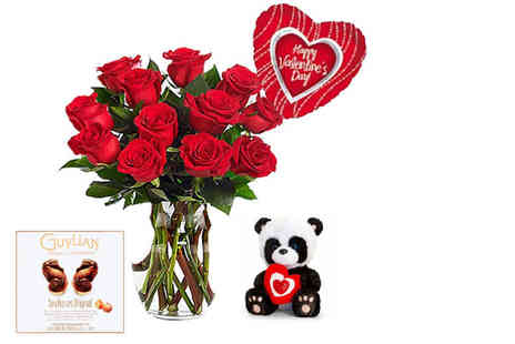 KNPH - Valentines 12 rose bouquet, chocolate, teddy and balloon - Save 51%