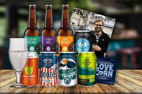 Flavourly - Mystery craft beer hamper including eight beers, a Tasting Glass, snack and magazine - Save 66%