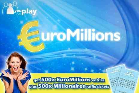 You Play We Play - 500 EuroMillions Lines and 500 Millionaires raffle tickets try your luck in Europe's biggest lottery game - Save 74%