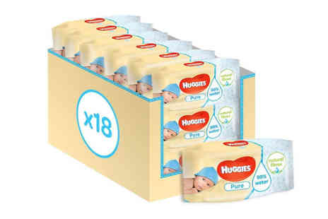 Avant Garde - 18 pack of Huggies pure baby wipes - Save 64%
