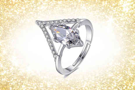 Gemnations - Diamond shape open ring with crystals from Swarovski - Save 83%