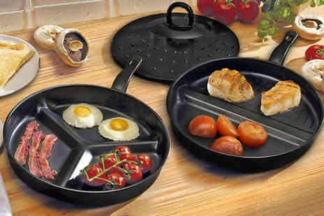 Groundlevel - Set of two non stick frying pans with a three piece divider - Save 0%