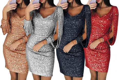 hey4beauty - Sequin V neck cocktail dress - Save 57%