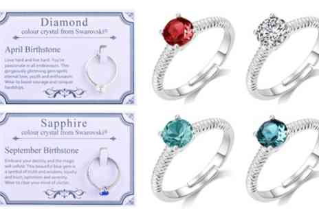 Groupon Goods Global GmbH - Philip Jones Adjustable Birthstone Ring with Crystals from Swarovski - Save 75%