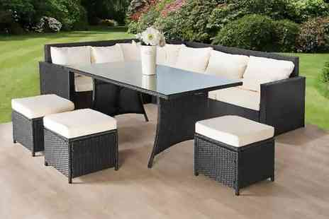 Dining Tables - Nine seater durable rattan garden sofa and stool set Choose between black and brown - Save 75%
