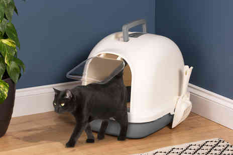 CJ Offers - Cat litter box with scoop and odour eliminating filters - Save 58%
