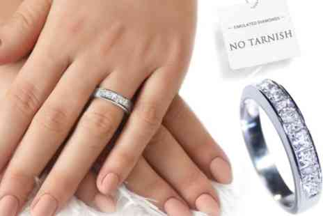Groupon Goods Global GmbH - Ah! Jewellery Stainless Steel Half Eternity Band - Save 89%