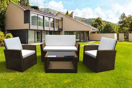 Dining Tables - Four piece polyrattan garden furniture set - Save 72%