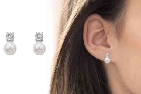 GENOVA INTERNATIONAL - Pair of silver pearl and cubic zirconia earrings - Save 76%