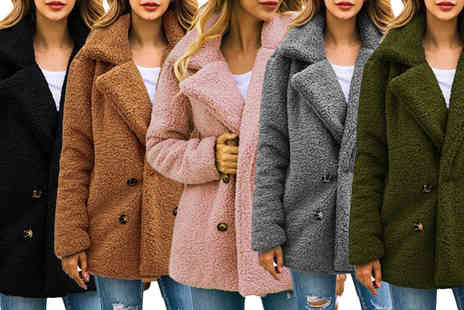 Boni Caro - Double breasted teddy coat Choose your colour and size - Save 62%