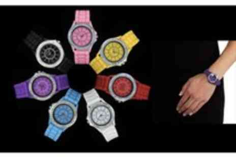 WooHooDeal - Fashionable Crystal Silicone Watch - Save 71%