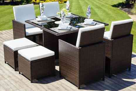 Dining Tables - Eight seater rattan cube garden set Choose from two colours - Save 79%