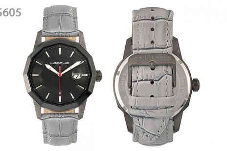 Ideal Deal - Morphic M56 Shaped Crocodile Leather Watch Choose from Grey or Black - Save 82%