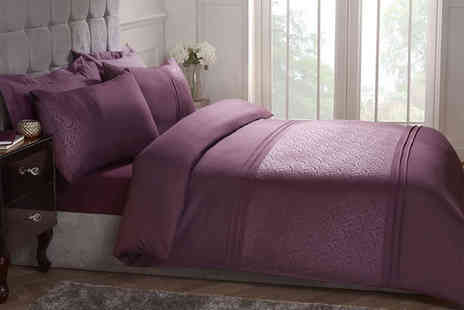 Cascade Home - Embossed swirl duvet set choose from three sizes and two colours - Save 0%