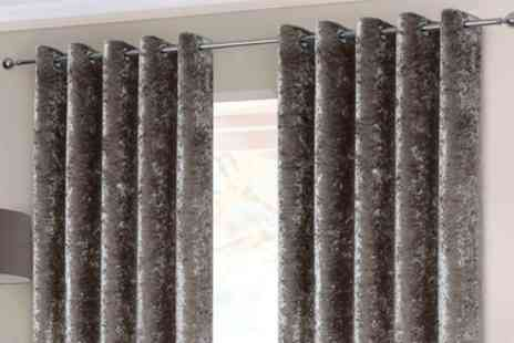 Groupon Goods Global GmbH - Rapport Home Embossed Crushed Velvet Lined Curtains or Cushion Covers - Save 0%