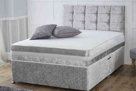 Giomani Designs - Crushed velvet divan bed and memory mattress choose from four colours, two or four drawers - Save 0%