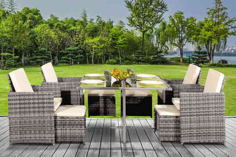 UKFurniture4u - Nine piece durable polyrattan cube dining set - Save 73%